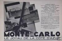 PUBLICITÉ MONTE-CARLO LE JOYAU DE LA CÔTE D'AZUR GOLF-MIGNON RALLYE AUTOMOBILE