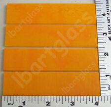 "4-1""x 4"" Opal Orange Bullseye Glass Sheet Strips 90 Coe"