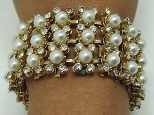 Vintage Wide Gold tone Leru Pearl Rhinestone Bracelet Triple & Quad 3 & 4 Rows