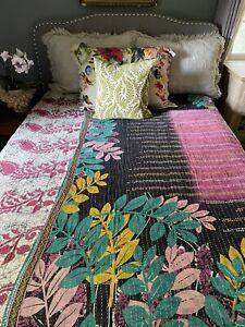 Vintage Kantha Quilt. Sundance Kantha Throw. Reversible Twin Bedspread.