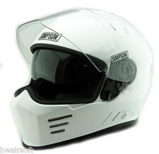 SIMPSON GHOST BANDIT VENOM  HELMET ECE2205 UK ROAD LEGAL white black MATT