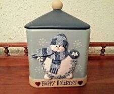 Snowman Cookie Jar~ BICO~ China Happy Holidays Ceramic Snack Treat Canister