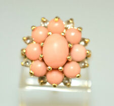 VINTAGE 14K YELLOW GOLD CORALCLUSTER RING WITH WHITE SAPPHIRE ACCENTS SIZE 6