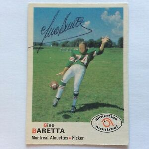 1970 O-PEE-CHEE CFL GINO BARETTA AUTOGRAPHED SIGNED ROOKIE MONTREAL ALOUETTES