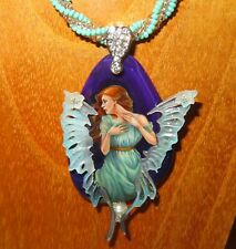 Pendant Fairy Butterfly Ginger Lady Hand painted STONE SHELL wings Shenshin GIFT