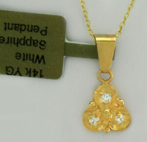 WHITE SAPPHIRES PENDANT NECKLACE 14k GOLD * New With Tag *