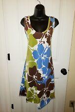 Tropical Summer Women's Dress sz XXL Hyacinth Floral Brown Blue Green Tank