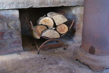 Log Wood Basket Holder Fire Side Manor Accessory Iron Curved Rust Repro 500mm