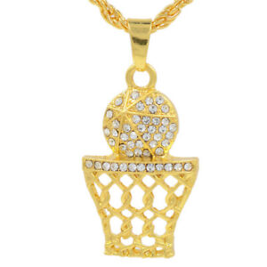 Man'S Gold Basketball Net Pendant High Grade Full Crystal Necklace Jewelry M