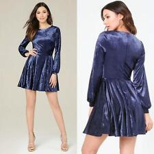 BEBE BLUE VELVET LONG SLEEVE FLARE DRESS NEW NWT $129 MEDIUM M