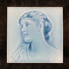 Antique Blue Tile Art Nouveau Beautiful Woman #2
