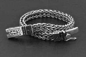 "925 Sterling Silver Solid Biker Fancy Link Mens Gothic 8"" inch Braided Bracelet"