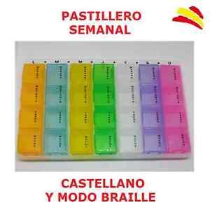PASTILLERO SEMANAL 7 COMPARTIMENTOS 4 TOMAS CAJA PASTILLAS MEDICAMENTOS BRAILLE