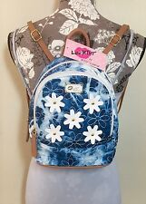 NWT Betsey Johnson Backpack Blue Denim Tie Dye Shoulder Bag White Daisys NWT $68