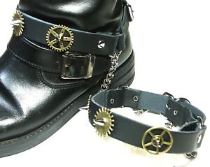 Pair Steampunk Boot Strap-Black-Silver-Brass Wheels-Biker-buckle Accessory