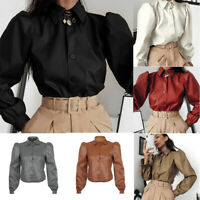 Office Casual Buttons Blouse Leather Shirt Long Ladies Tops Work PU Women Sleeve