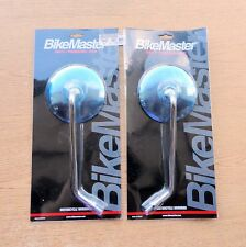 Motorcycle MIRRORS STAINLESS PAIR Round Stock Style Long Stem 10mm BikeMaster *