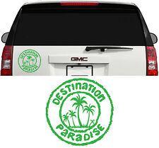 DESTINATION PARADISE HAWAII FLORIDA OCEAN PALM TREE DECAL STICKER 8 INCH LIME