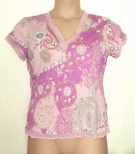 NEXT LIGHTWEIGHT WOOL BLEND V NECK PINK FLORAL CRINKLE TOP WITH FRILL EDGE 16