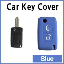 CAR KEY COVER SILICONE CASE HOLDER PEUGEOT 207 307 308 407 REMOTE FLIP KEY Blue