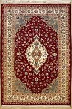 Rugstc 4x6 Pak Persian Red Area Rug, Hand-Knotted,Floral with Silk/Wool Pile