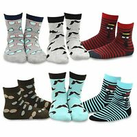 TeeHee Kids Boys Fashion Fun  Crew Socks 6 Pair Pack (Invisible Face)