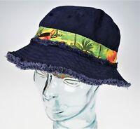 604072a766723 Medium Panama Jack Contrast Reversible Sun Bucket Hat Hibiscus Tropical  Flowers