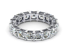 2ct Asscher Cut Diamond Eternity Anniversary Wedding Band 18ct White Gold Over
