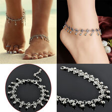 Classic Chain Women  Barefoot Anklet Tibetan Silver Daisy Beads Ankle Bracelet