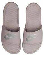Nike Women's Benassi Just Do It Particle Rose/Metallic Silver Slides Size 9 NEW
