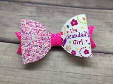 Grandads Girl Glitter Hair Bow - 1 X Personalised Glitter Bow