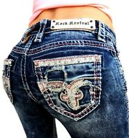 Women Rock Revival Jeans Low Rise Blowout Bling Straight 25 26 27 28 29 30 31 32