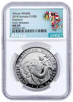2018 Somalia 1 oz Silver Elephant 100S NGC MS69 ER Exclusive Label SKU49899