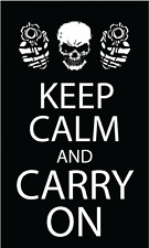 Keep Calm And Carry On Slogan Car Bumper Sticker Decal 3'' x 5''