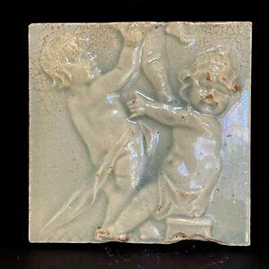Antique Architectural Tile Cambridge Co. Kentucky 2 Cherubs Putti Celadon Green