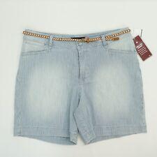 Lee Platinum Women 16 Shorts Belt Classic Fit Walk Short Blue Stripe 16 $52