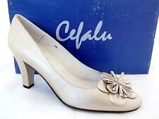 CEFALU LADIES PALE GOLD METALIC LEATHER HEELS COURT SHOES WOMANS UK 5 - EUR 38