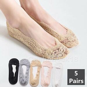 5x Ladies Lace Invisible Socks Ladies Footsie Liner Boat Sock Anti-Slip Silicone