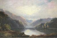 Altes Gemälde mit Rahmen Fjörd mit Segelboot