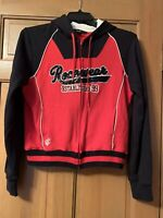 Women's Roca Wear Sweater Hooded Cotton Sz XL Red Black Sequins Embroidered