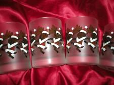 """NEW FOUR """"CULVER"""" BAR GLASSWARE CHRISTMAS """"RUDOLPH"""" DOF FROSTED AND SIGNED"""