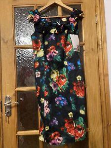 Love Moschino Black Flowers Dress UK12  IT44 BNWT
