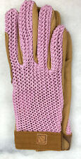 Ssg Horse Riding Gloves Womens Pink Crochet Leather Palms Ladies Size 6 Small