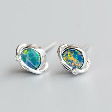Earth Design Australian Doublet Black Opal Diamond Stud Earrings 18K White Gold