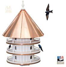 "36"" Purple Martin Birdhouse Large 12 Room 3 Story Copper Bird Condo Amish Usa"