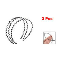 A5H6 3 Pcs Wavy Design Black Metal Hair Hoop Headband Ornament for Women
