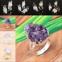 Natural Amethyst Rock Crystal Yellow Quartz Druzy Adjustable Reiki Finger Ring