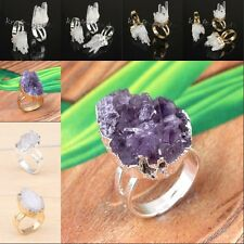 Natural Amethyst Rock Crystal Yellow Quartz Druzy Adjustable Reiki Finger Ring