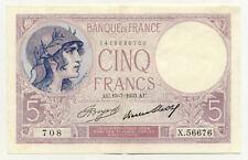Billet banque 5 Frs VIOLET 13-07-1933 AU X.56676 SUP