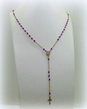 Collana Rosario argento 925 placcato oro rosa madonnina,pendente croce